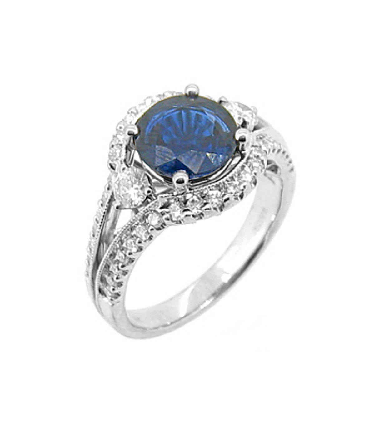 Sapphire and diamond cluster ringPictured item: sapphire: total 2.00ct/diamonds: total 0.70ct set in 18k white gold