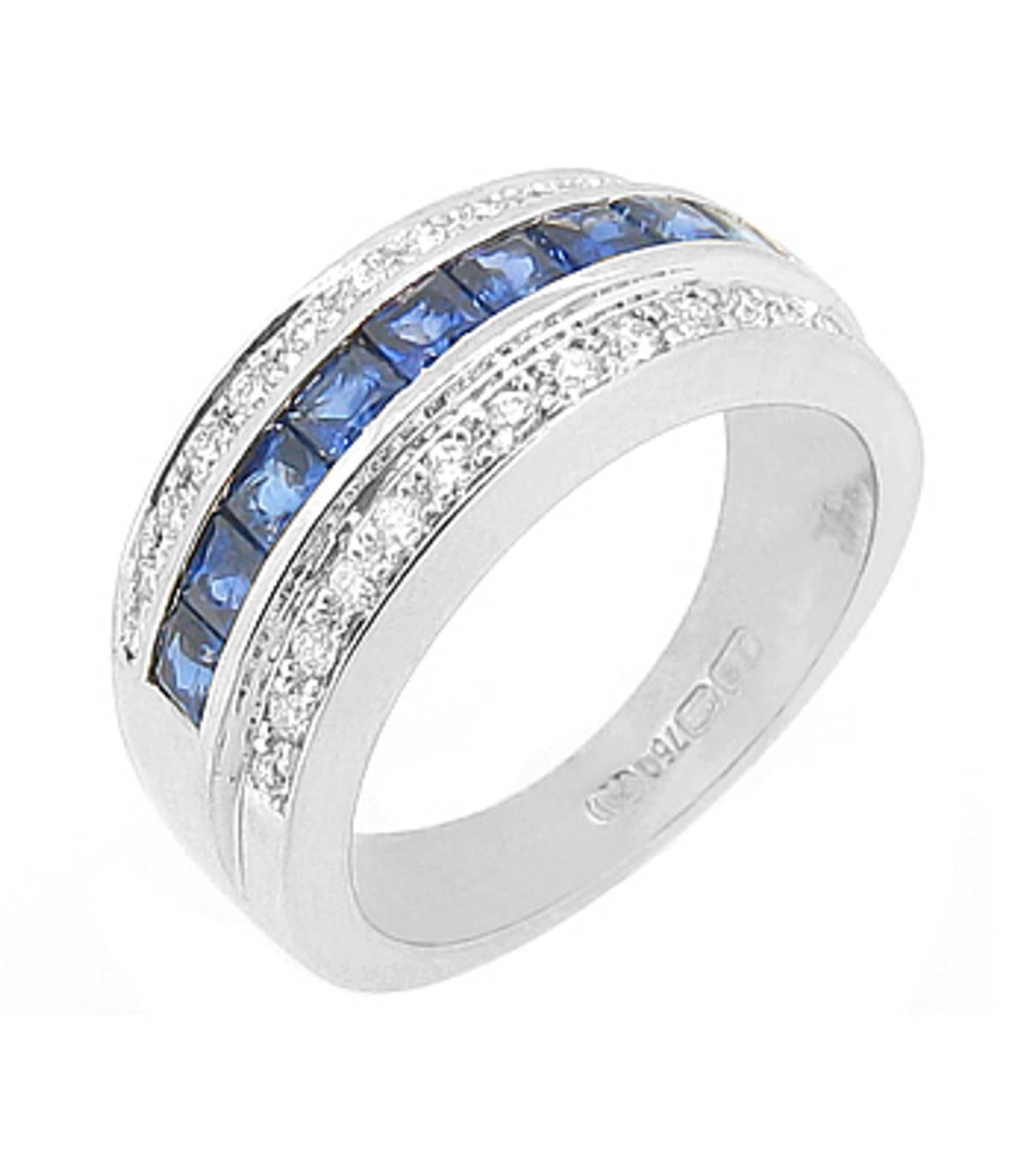3 ROW SAPPHIRE AND DIAMOND RING