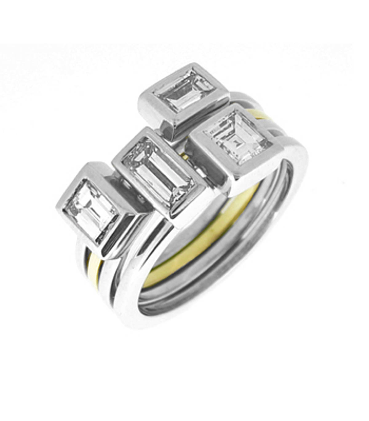 Emerald cut diamond 4 row ring in 18 ct yellow and white gold