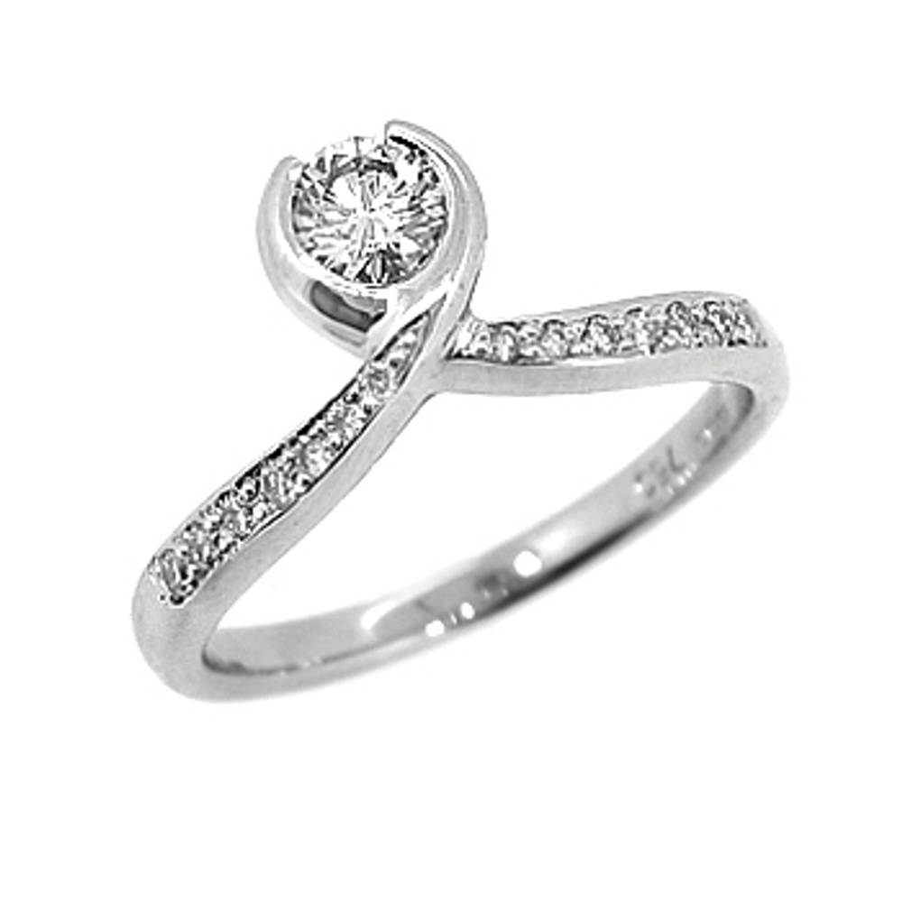 Single stone solitaire ring with diamond shoulders on 18 ct white gold