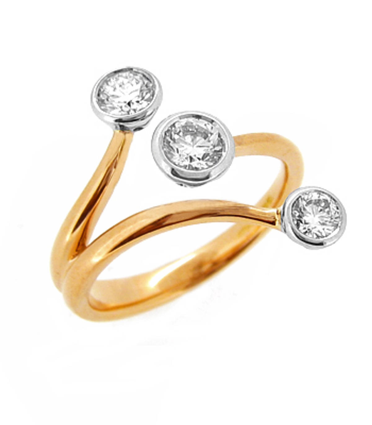3 stone diamond rubover3 set fancy ring in 18 ct red gold