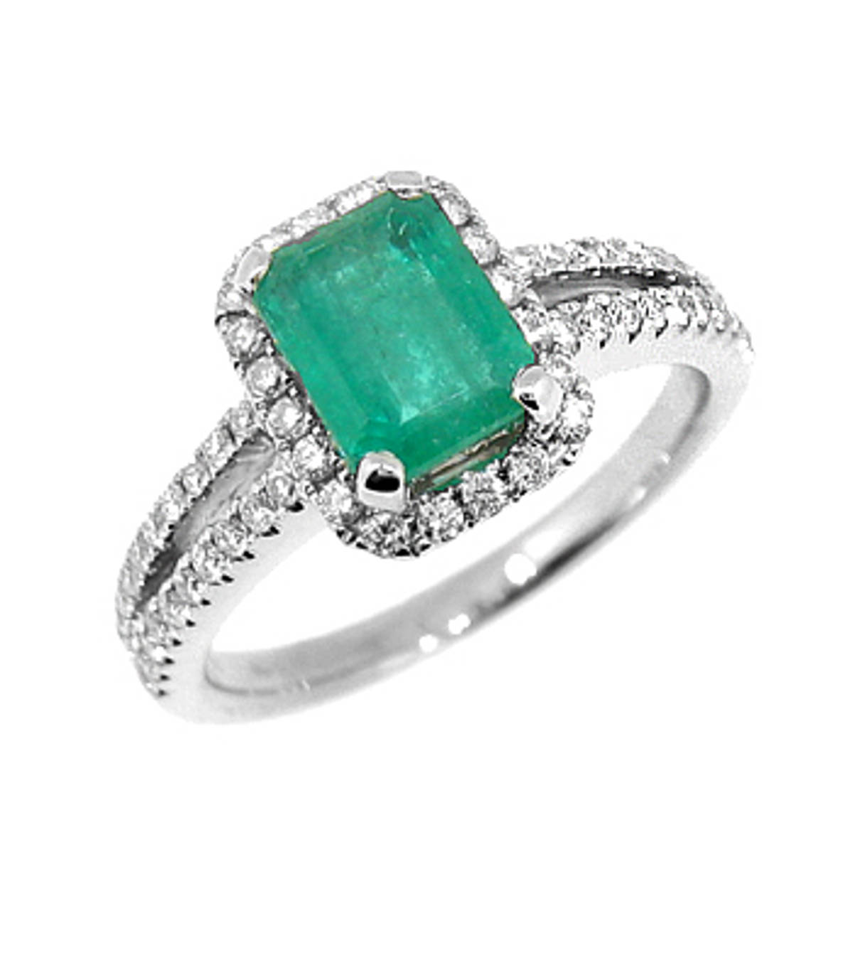 Emerald and diamond cluster ring,  double row diamond shoulders in 18 ct white gold