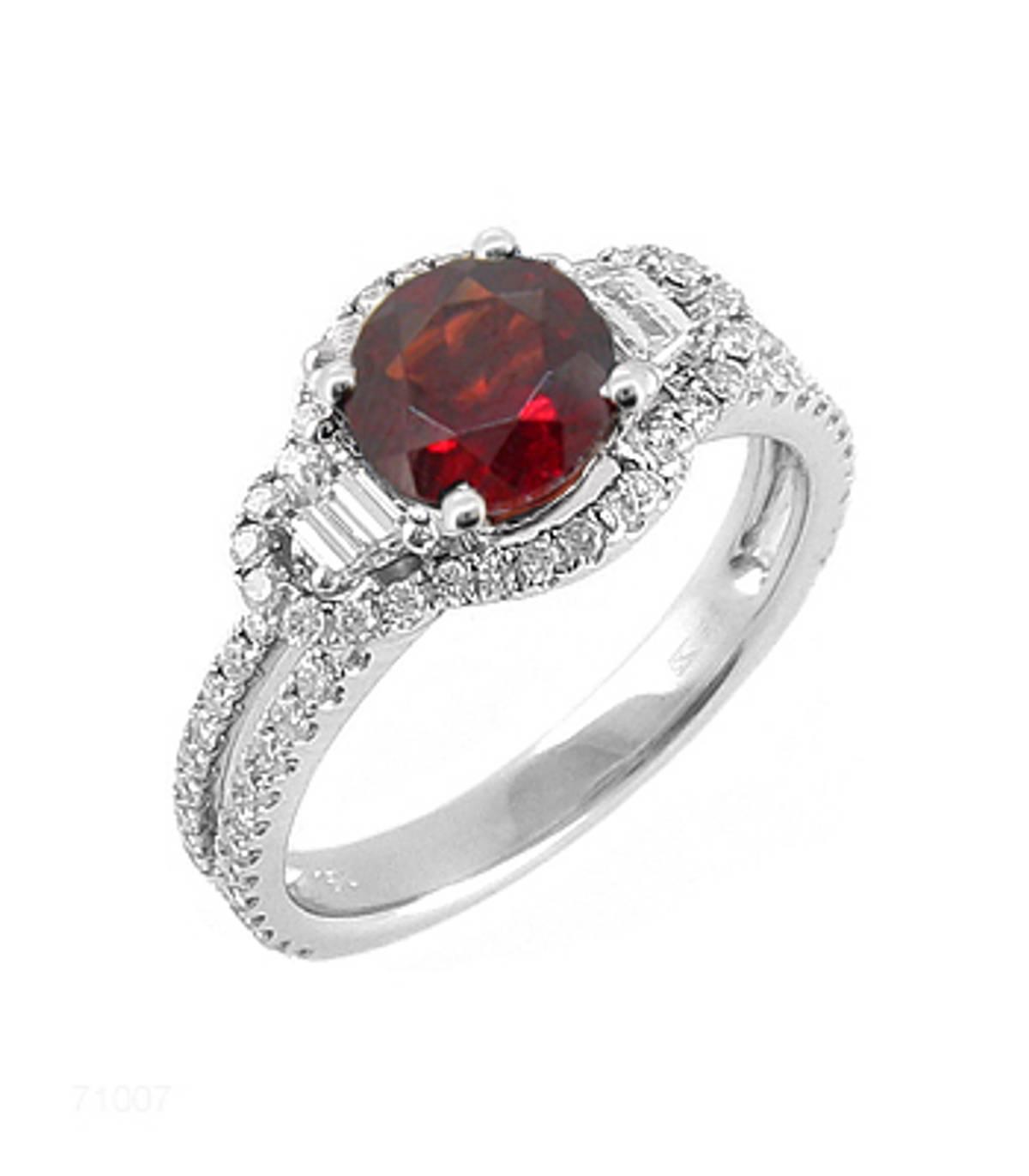 Garnet and diamond cluster ringPictured item: garnet: total 1.00ct/diamonds: total 0.73ct set in 18k white gold