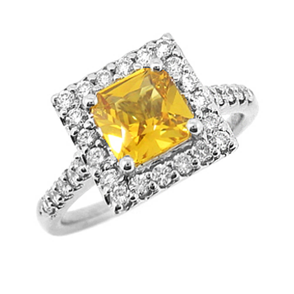 Yellow sapphire and diamond cluster ring in 18 ct white gold