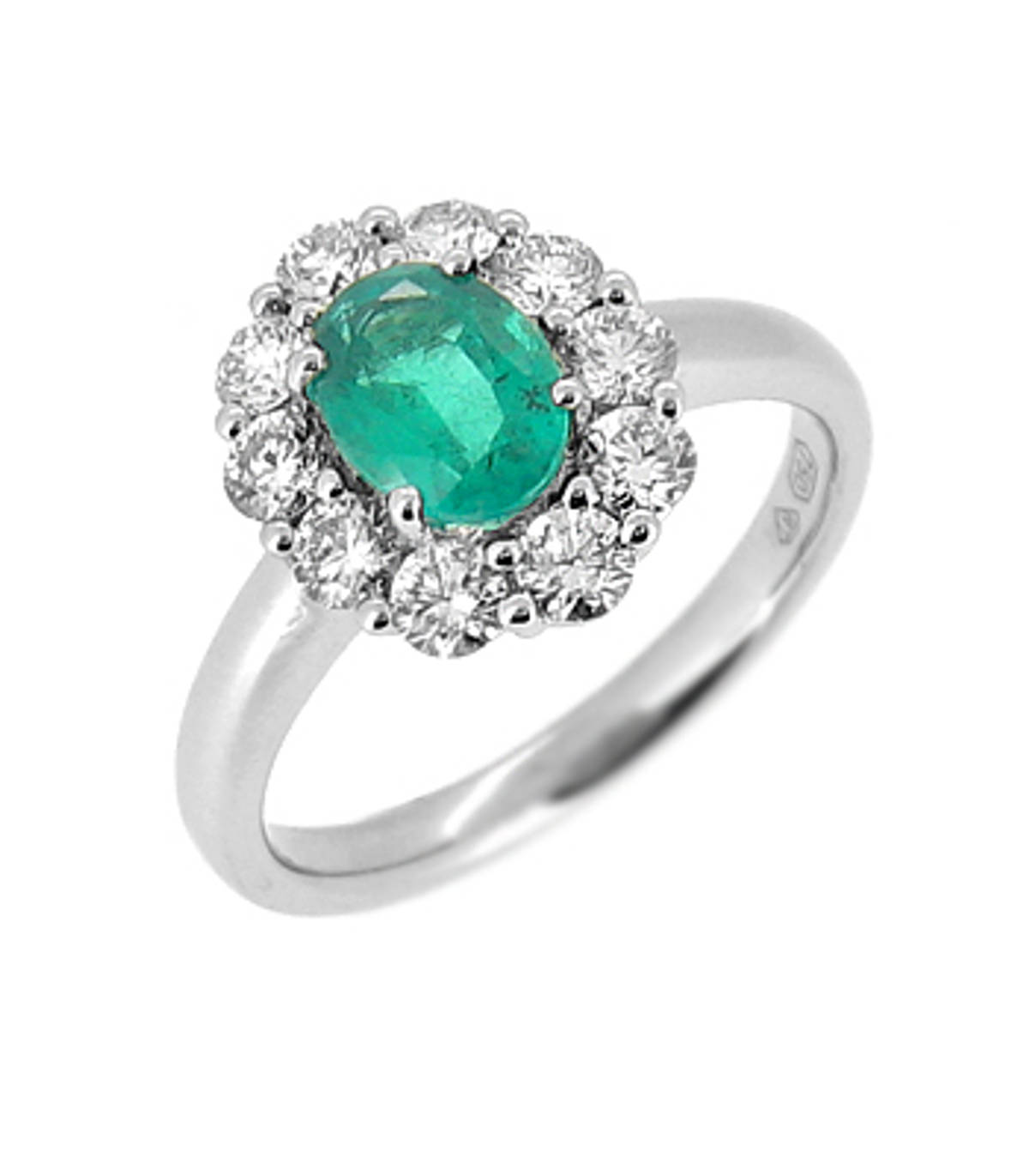 Oval emerald and diamond cluster ring in 18 ct white gold