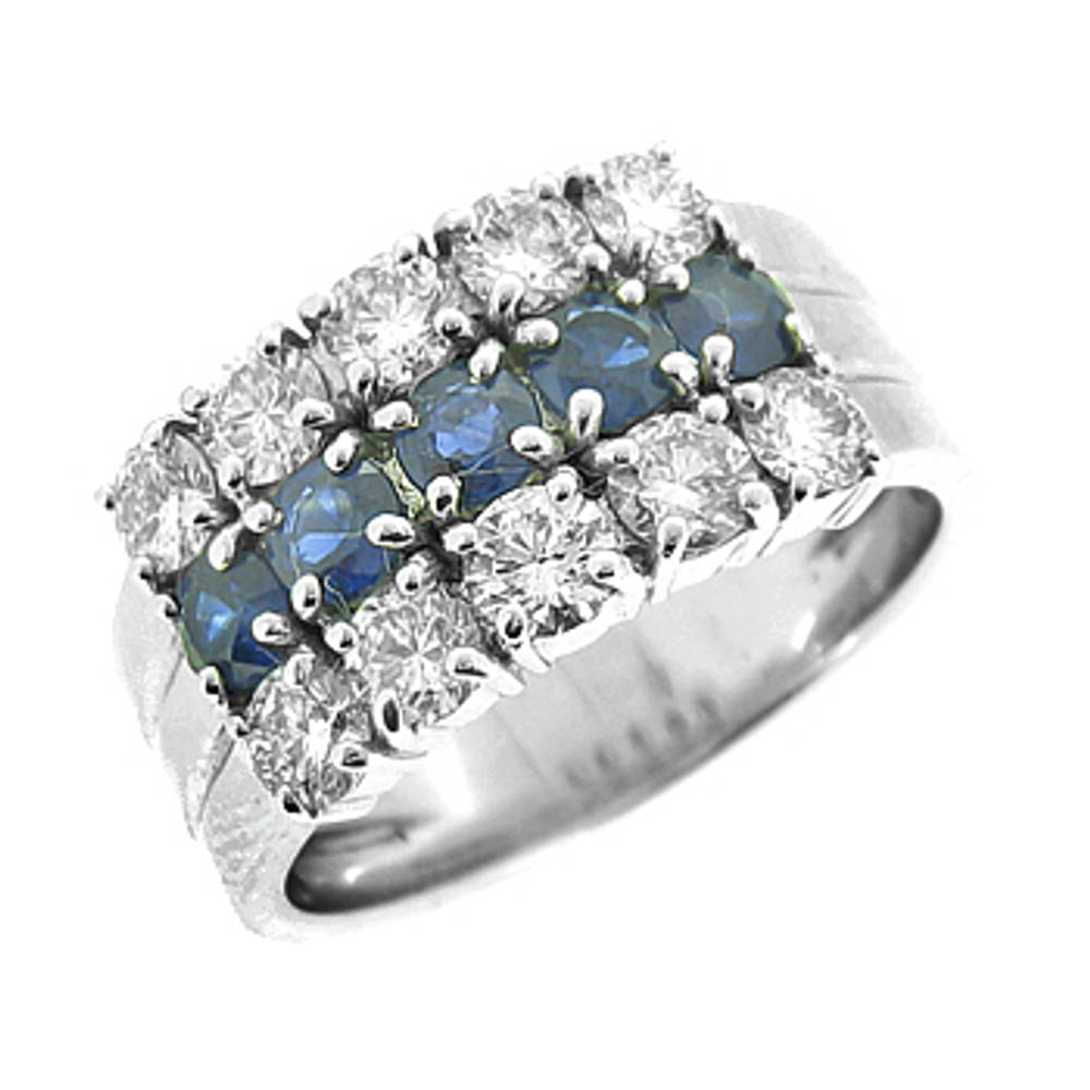 Sapphire and diamond 3 row 18 ct white gold ring