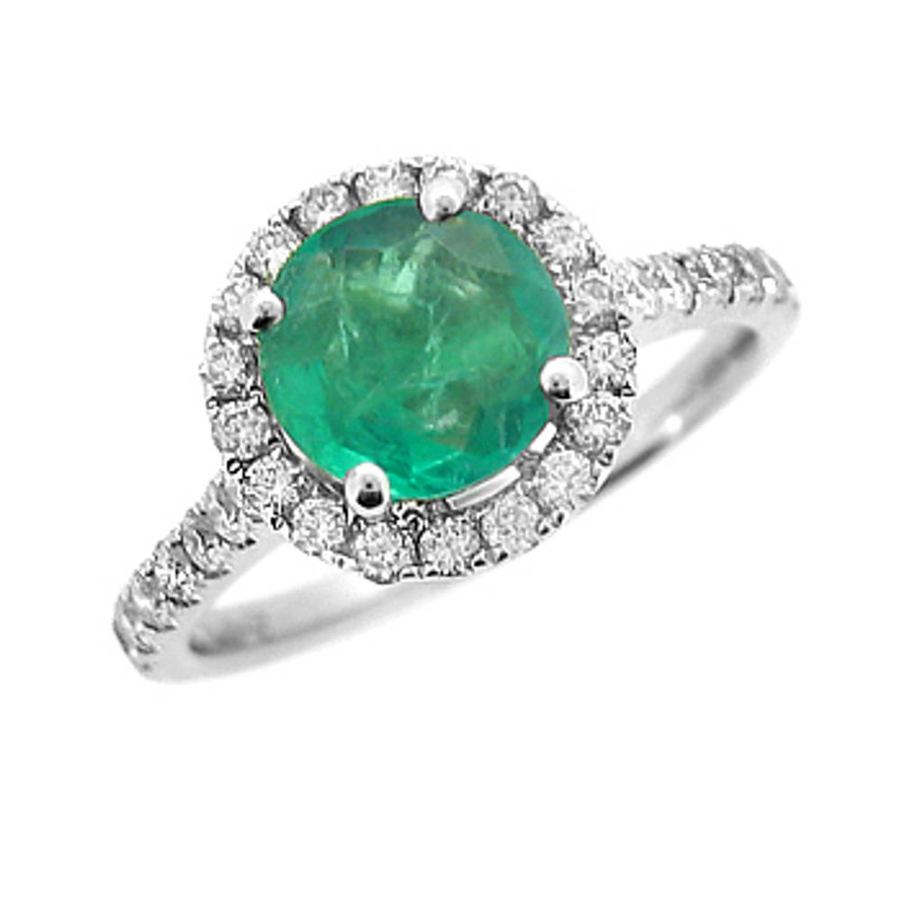 Emerald and diamond cluster ring with diamond shoulders in 18 ct white gold