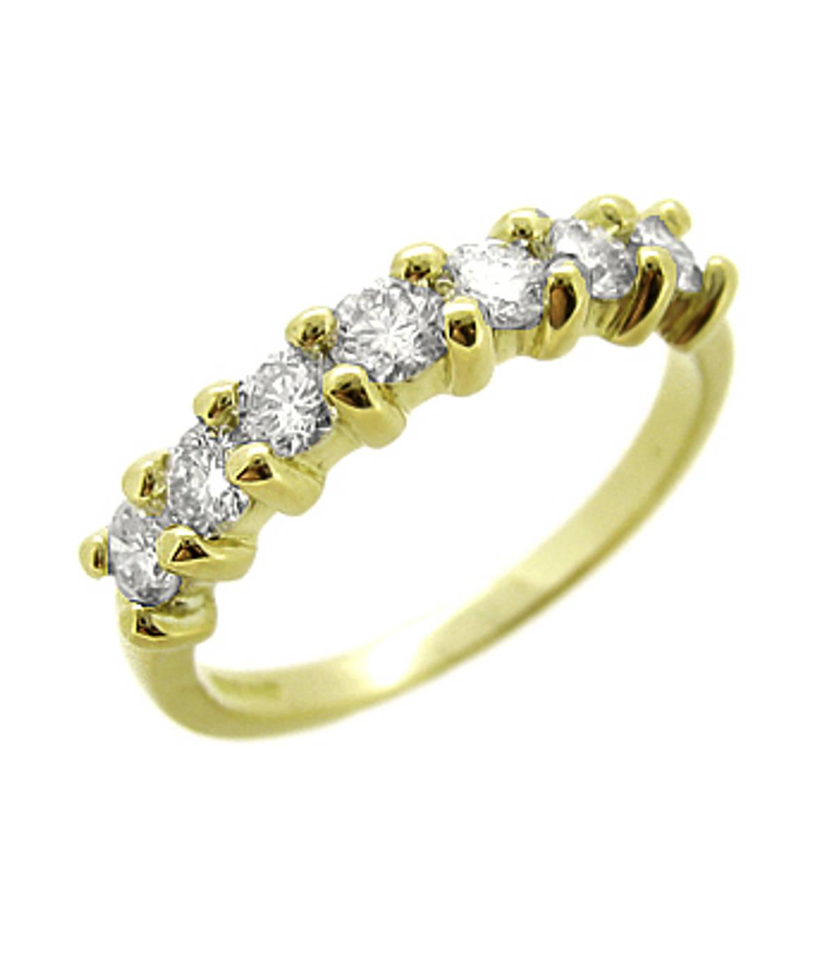 18k yellow gold brilliant cut 7st diamond claw set eternity ring Carat: total diamond weight 0.74cts  Metal: 18k yellow gold