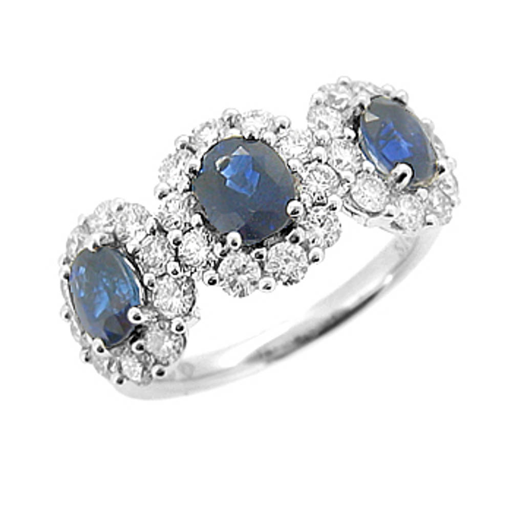 Sapphire and diamond treble cluster ring in 18 ct white gold