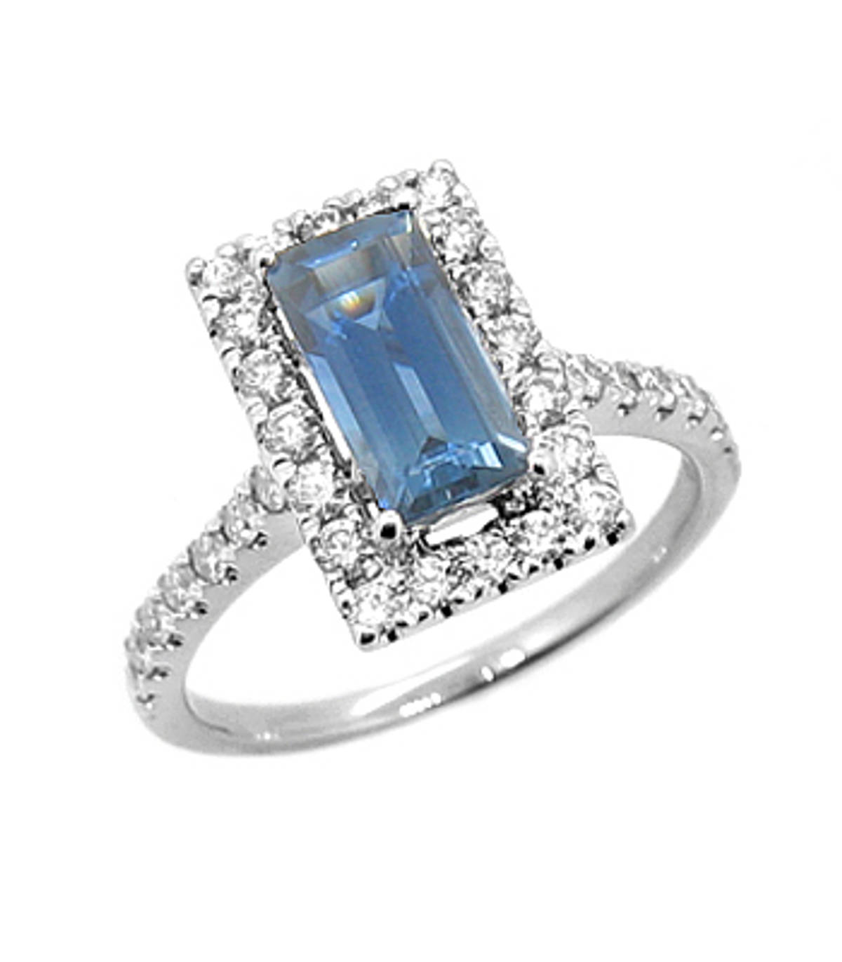 Sapphire/diamond cluster ring 18 ct white gold