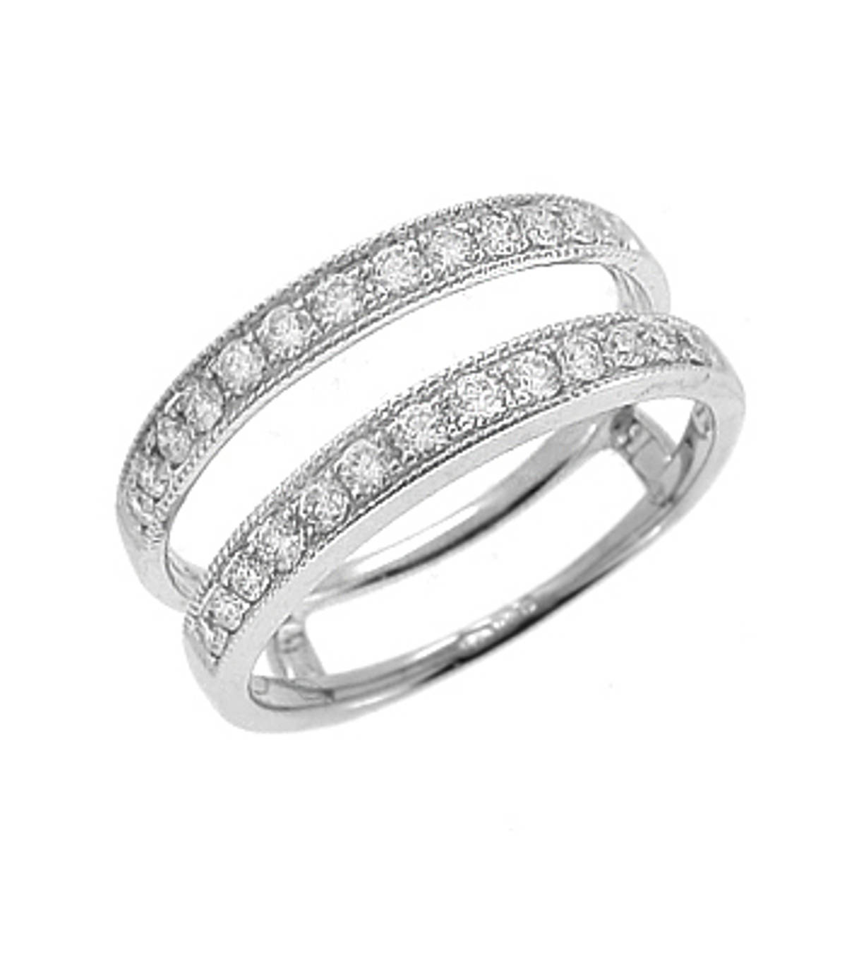 18k white gold brilliant cut diamond keeper ring Total diamond weight 0.43cts 18k white gold