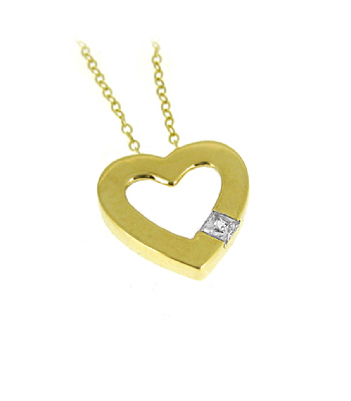 "9k yellow gold open heart CZ pendant on 9k yellow gold 18"" chain 9k yellow gold 18"" chain Metal: 9k yellow gold Length  1.5cm  Width  1.5cm Made in Ireland"