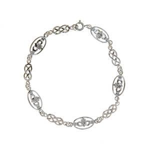 Silver Claddagh And Celtic Design Bracelet