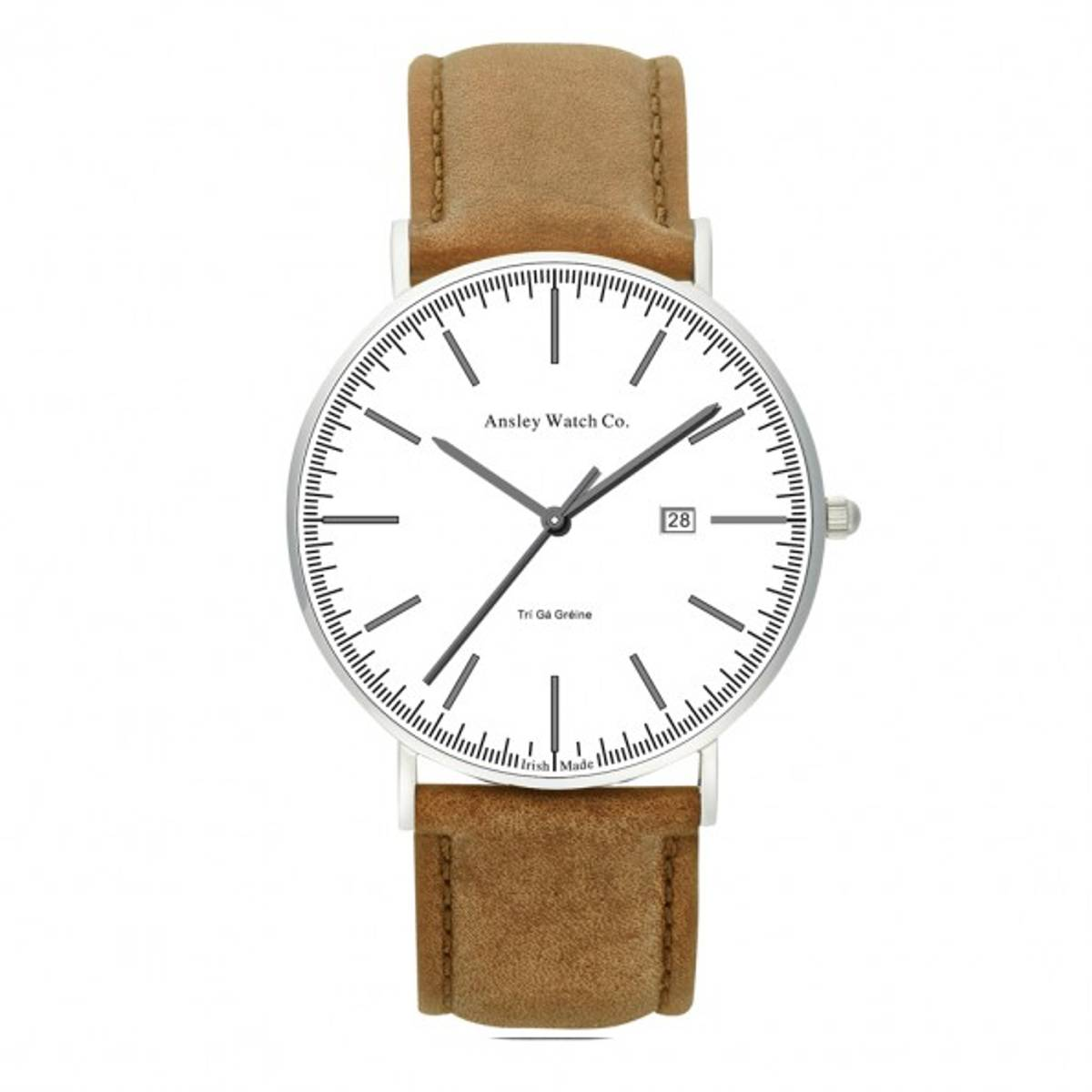 Ansley 434Ansley 43442mm sapphire glassLeather travel walletSilver casing3 ATMCitizen GM10 movementDate functionInterchangeable leather strapAncient symbol for equality engraved on case backMade in Ireland