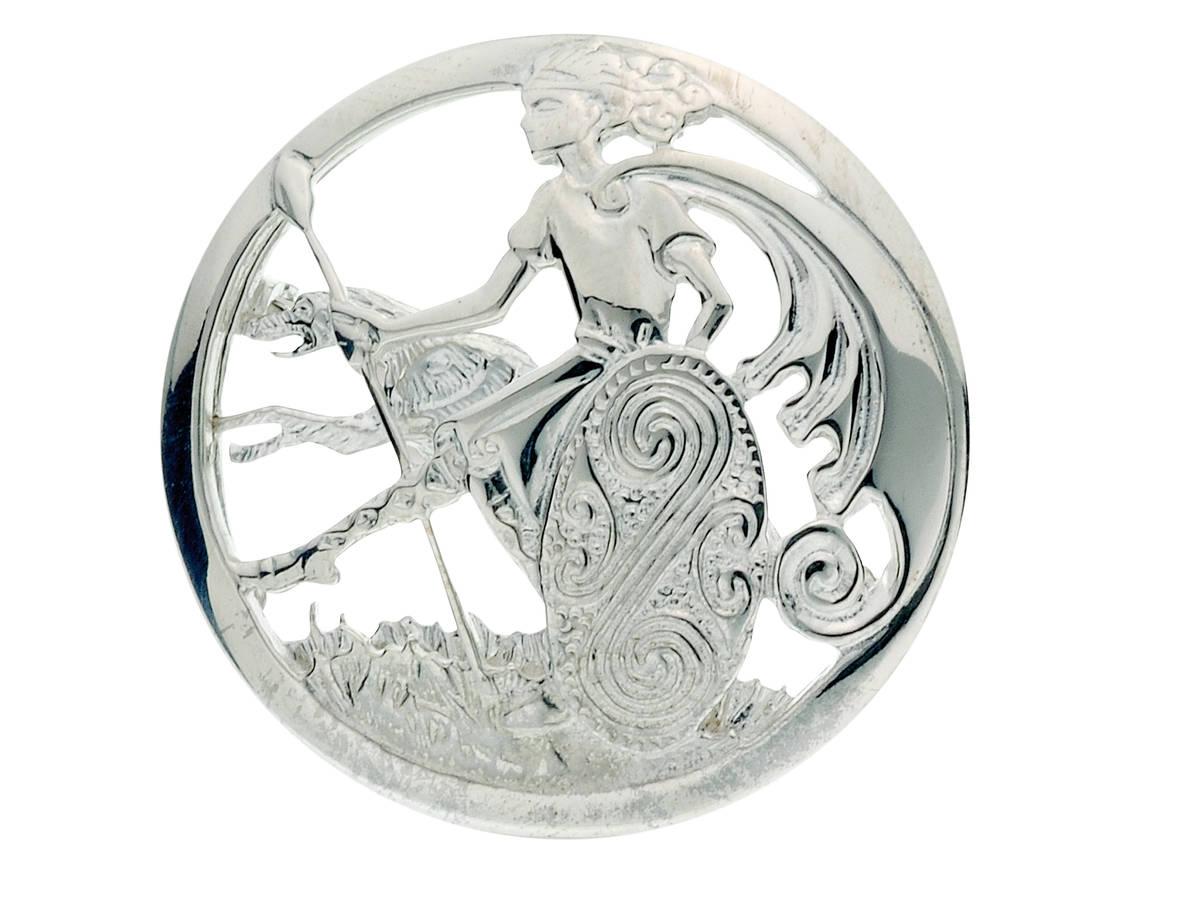 Silver celtic warrior brooch