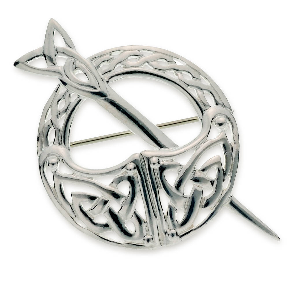 Silver Tara brooch large with celtic knot work