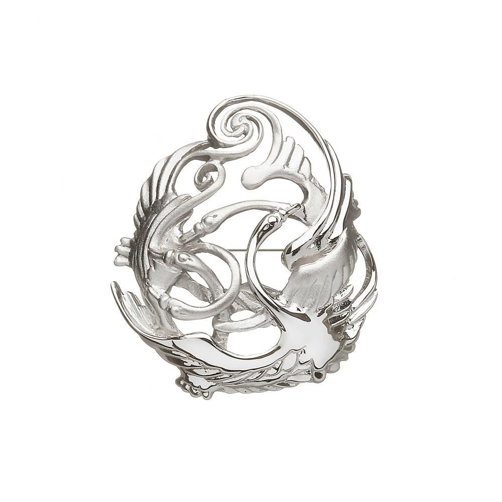 Silver children of lir brooch