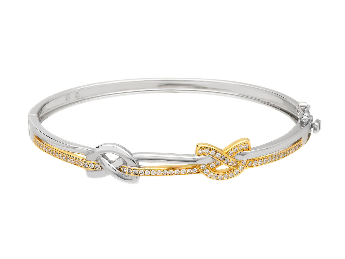 Silver Two Tone Love Knot Bangle