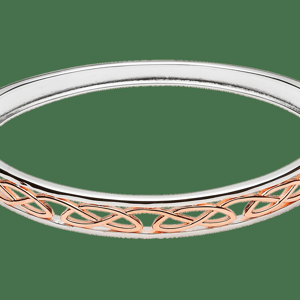 Silver Rose Gold Celtict  Hinged Bangle