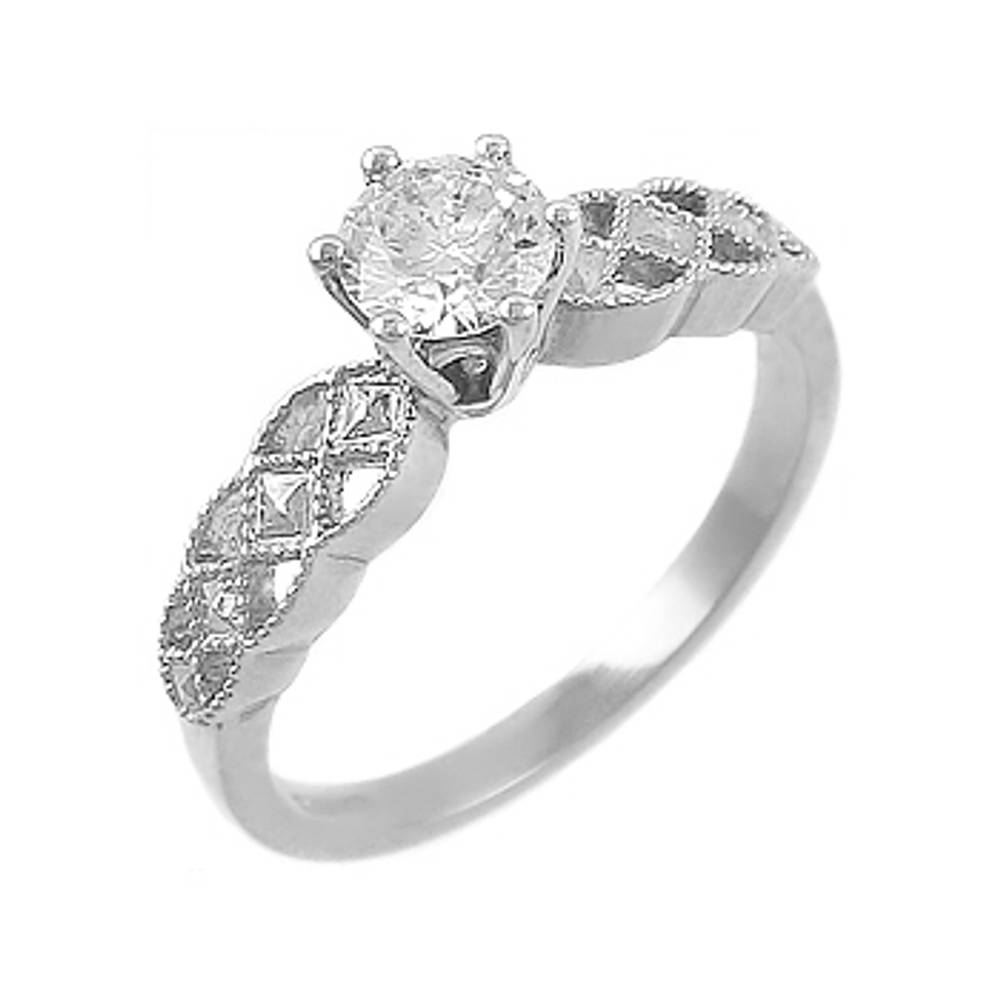 14 carat white gold 0.34cts/0.04cts diamonds celtic engagement ring