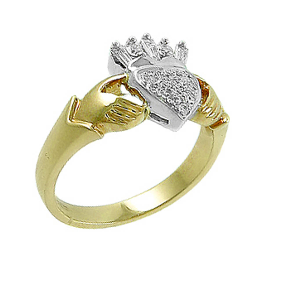 18 carat yellow gold 0.14cts/0.15cts diamonds claddagh engagement ring