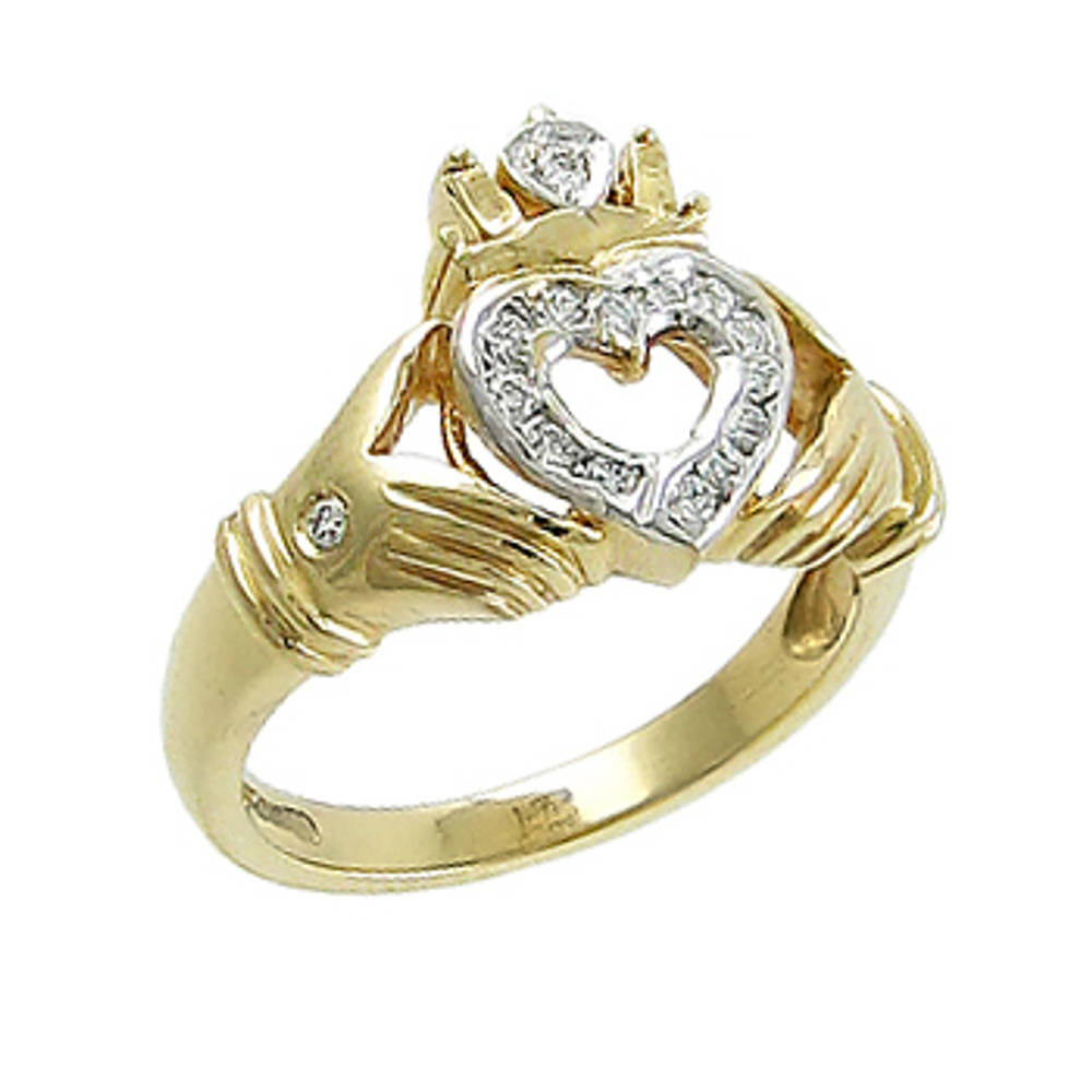 14 carat yellow gold 0.17cts diamonds claddagh engagement ring