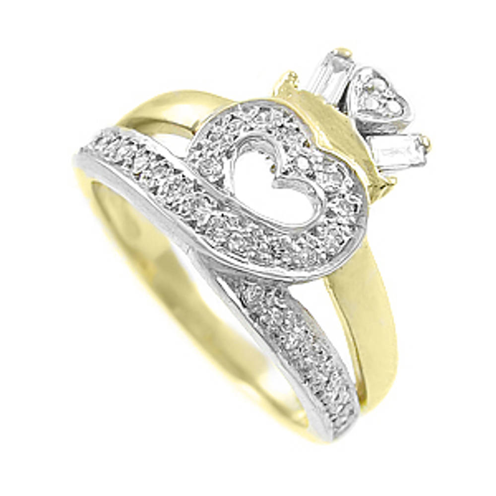14 carat yellow gold 0.30cts diamonds claddagh engagement ring