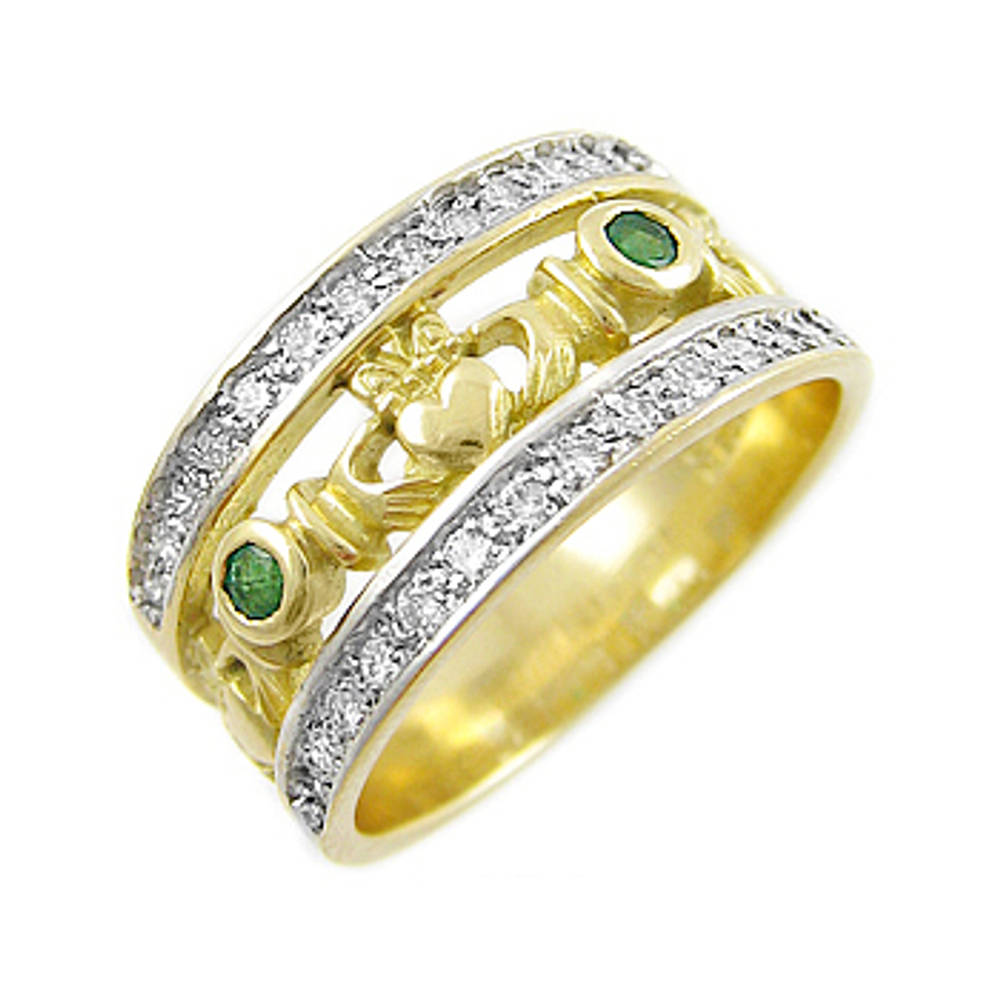 14 carat yellow gold emerald 0.10cts/diamonds 0.26cts claddagh engagement ring