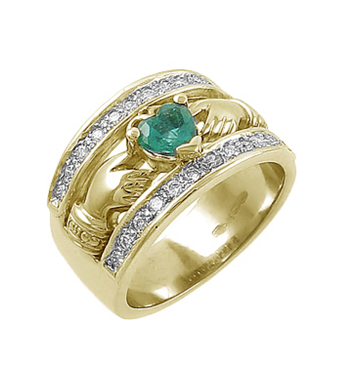 14 ct gold emerald 0.35cts/diamonds 0.26cts claddagh engagement ring