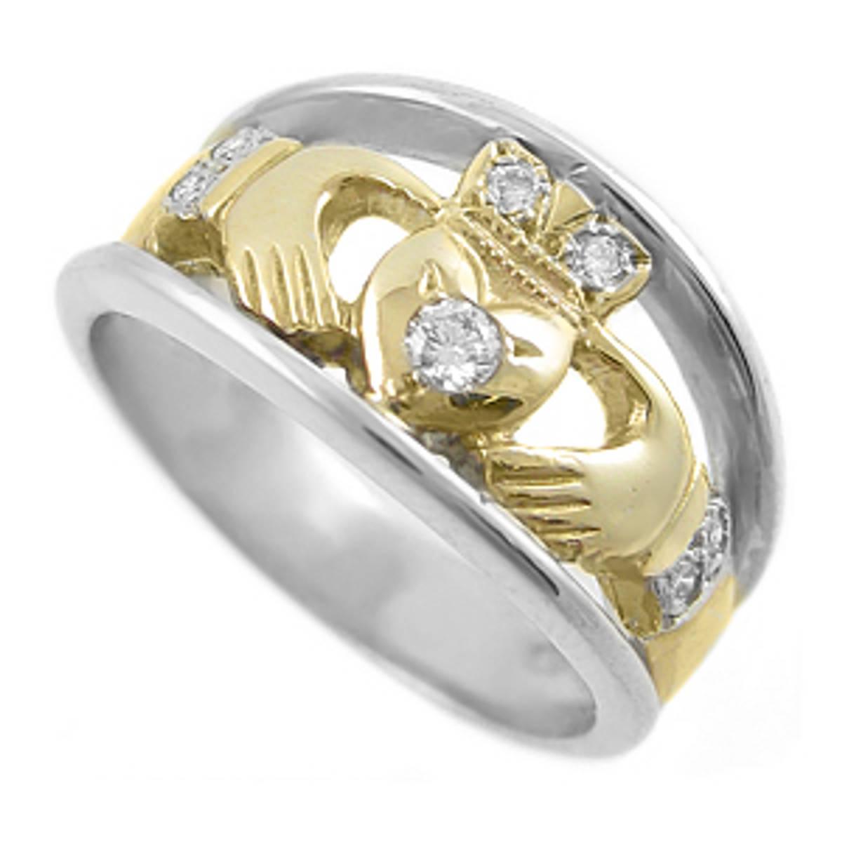 Irish made14 carat white/yellow gold 0.11cts diamonds claddagh engagement ring