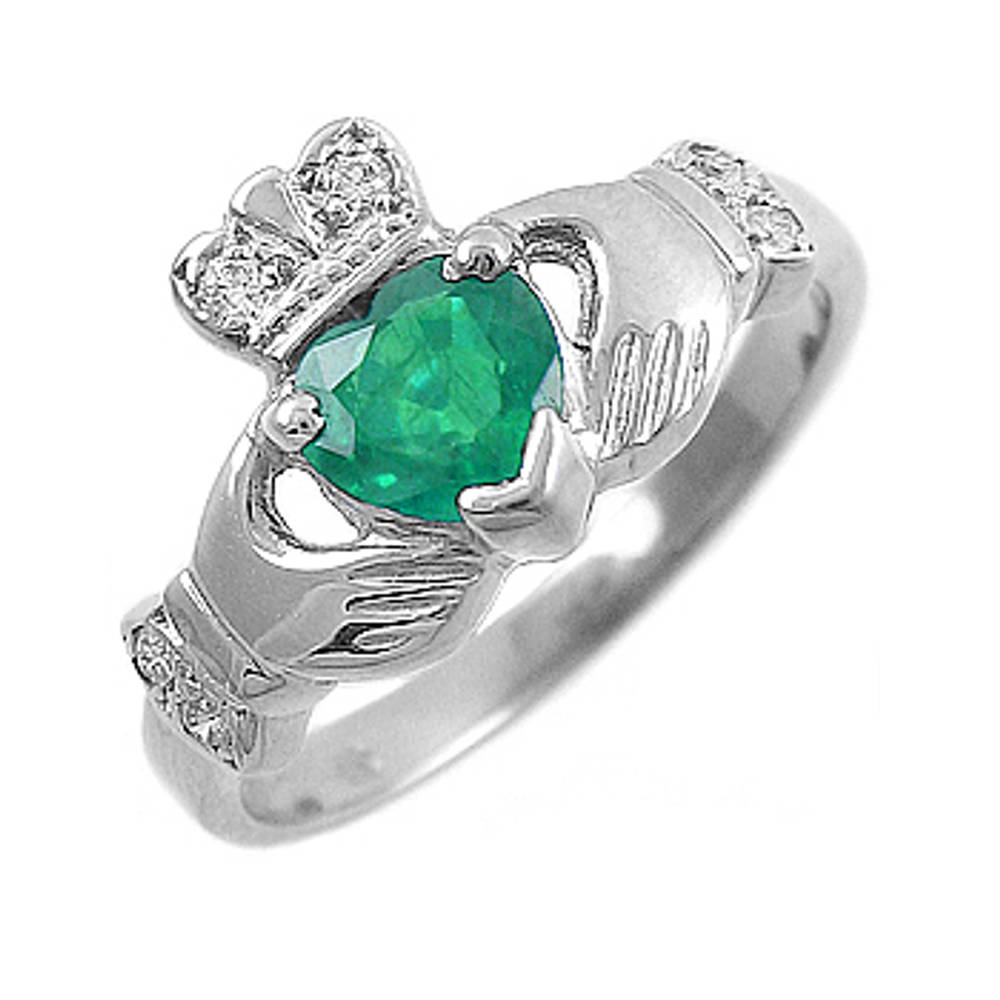 Beautiful CL400A-22 14 carat white gold 0.55cts emerald/0.06cts diamonds Claddagh Engagement ring