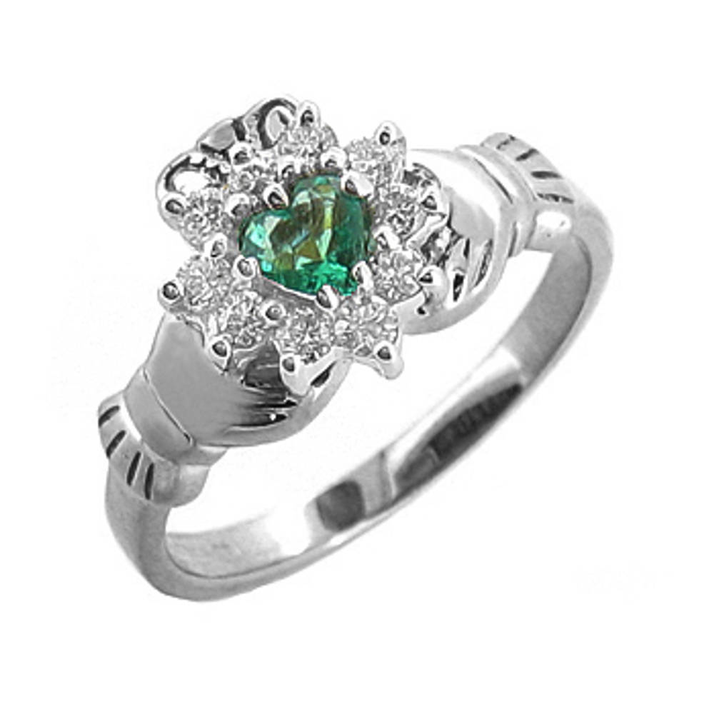14 carat white gold 0.25cts emerald/0.26cts diamonds claddagh engagement ring