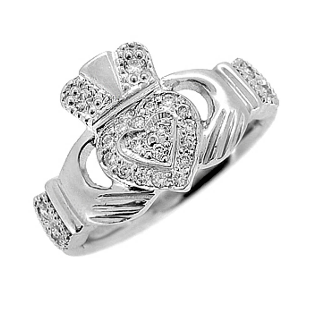 14 carat white gold 0.14cts diamonds claddagh engagement ring