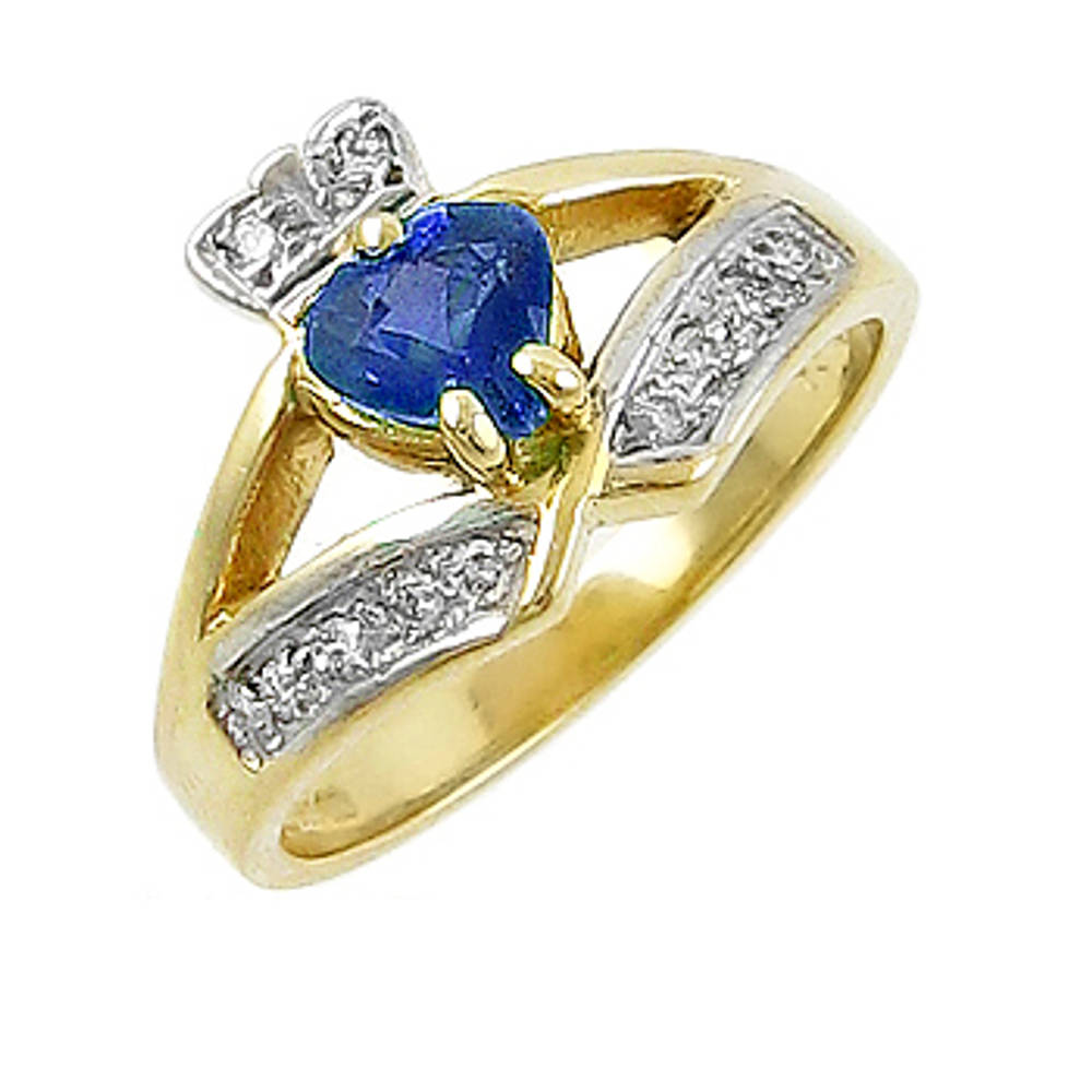 14 carat yellow gold 0.55cts sapphire/0.12cts diamonds claddagh engagement ring