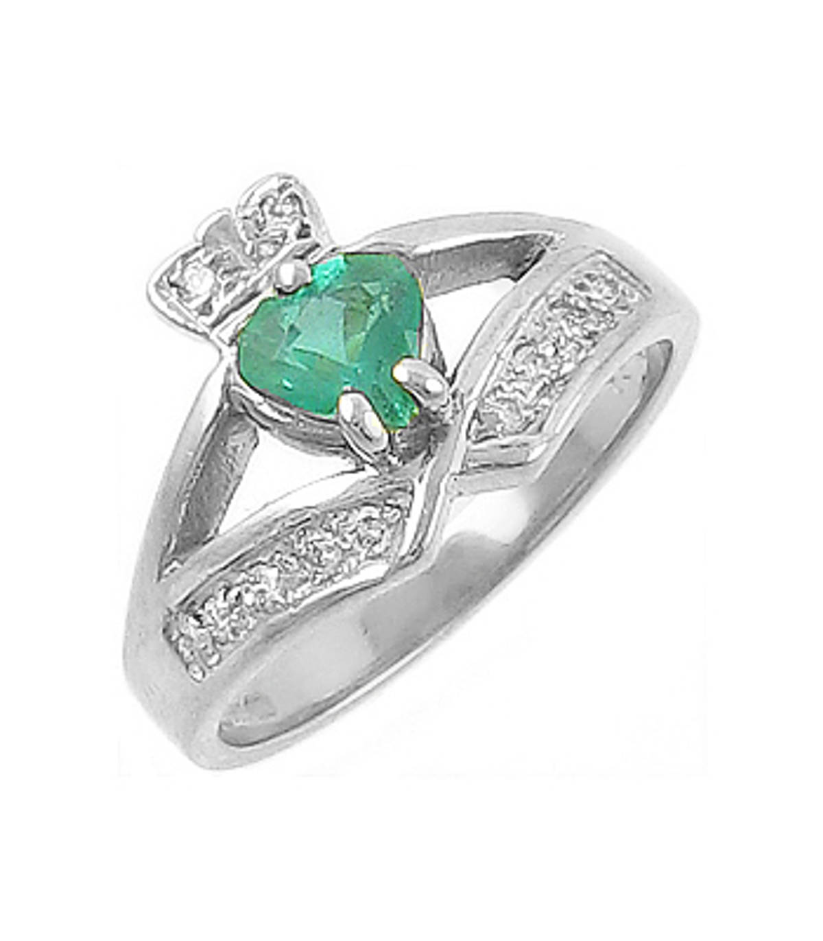 14 carat white gold 0.55cts emerald/0.12cts diamonds claddagh engagement ring