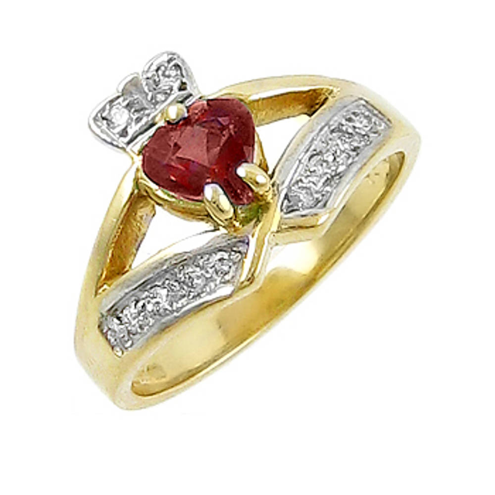 14 carat yellow gold 0.55cts garnet/0.12cts diamonds claddagh engagement ring
