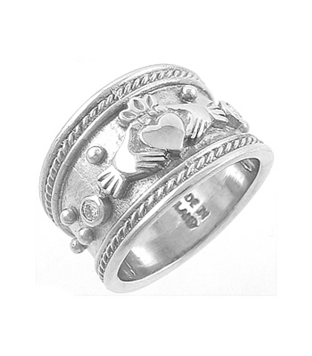 Irish made14 carat white gold 0.06cts diamonds claddagh engagement ring