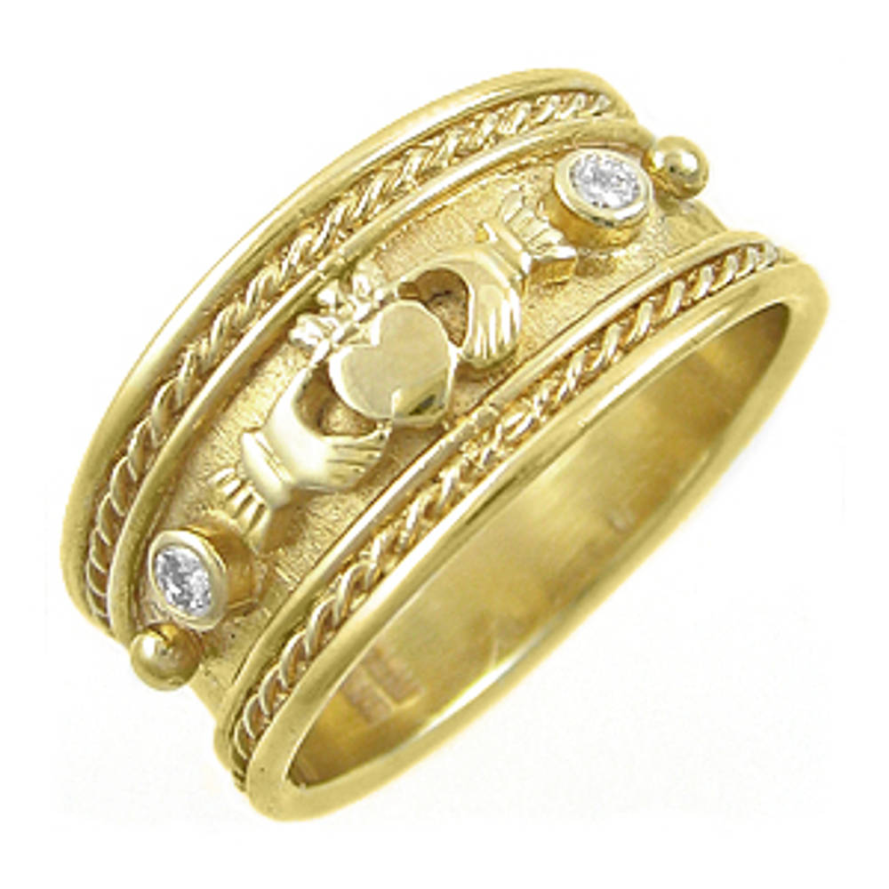 14 carat yellow gold 0.08cts diamonds claddagh engagement ring