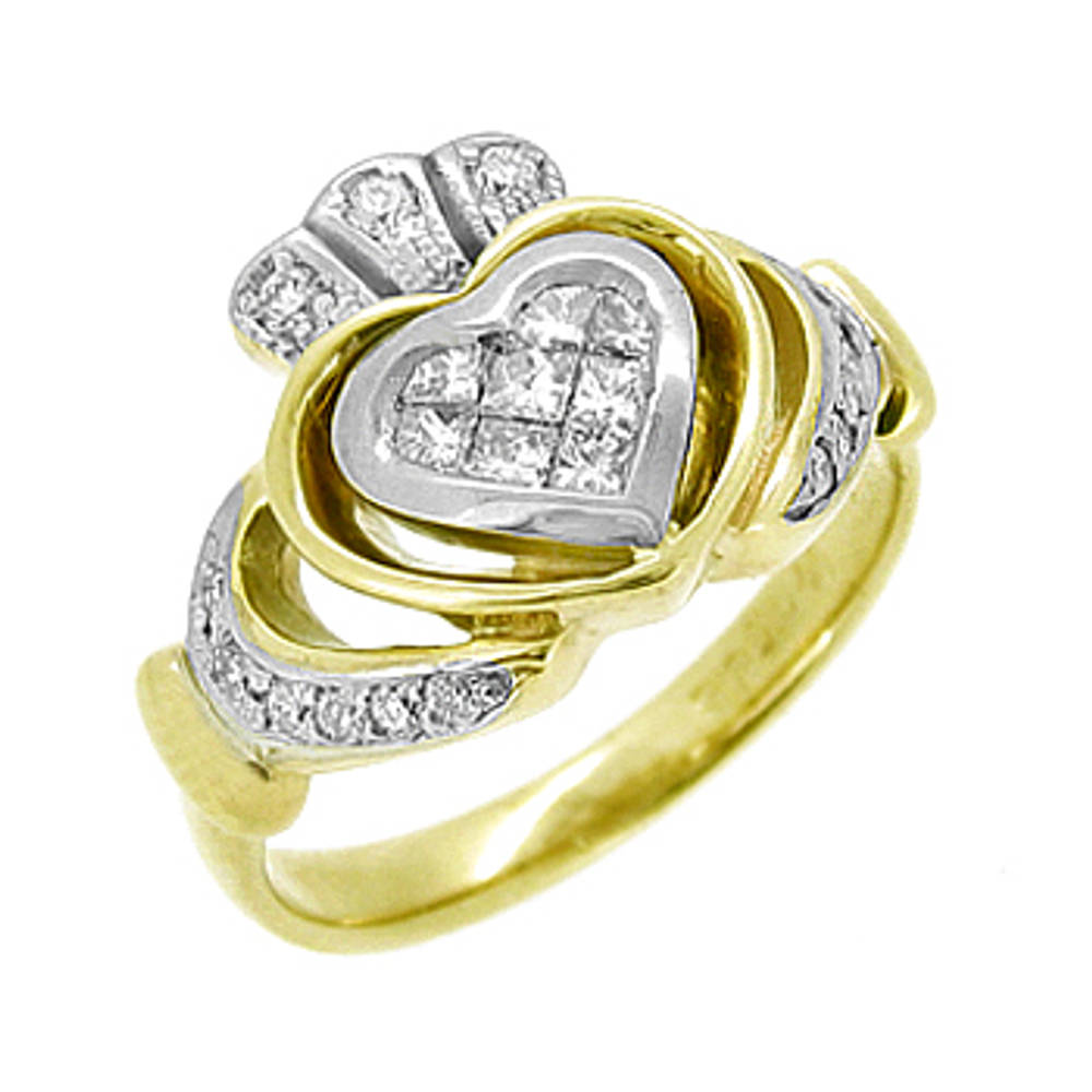 14 carat yellow gold 0.39cts diamonds claddagh engagement ring