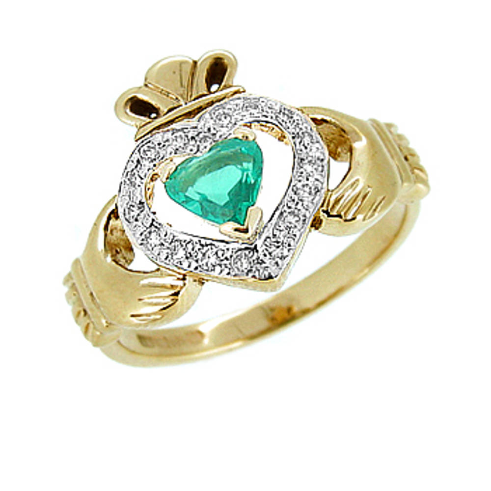 14 carat yellow gold 0.40cts emerald/0.13cts diamonds claddagh engagement ring