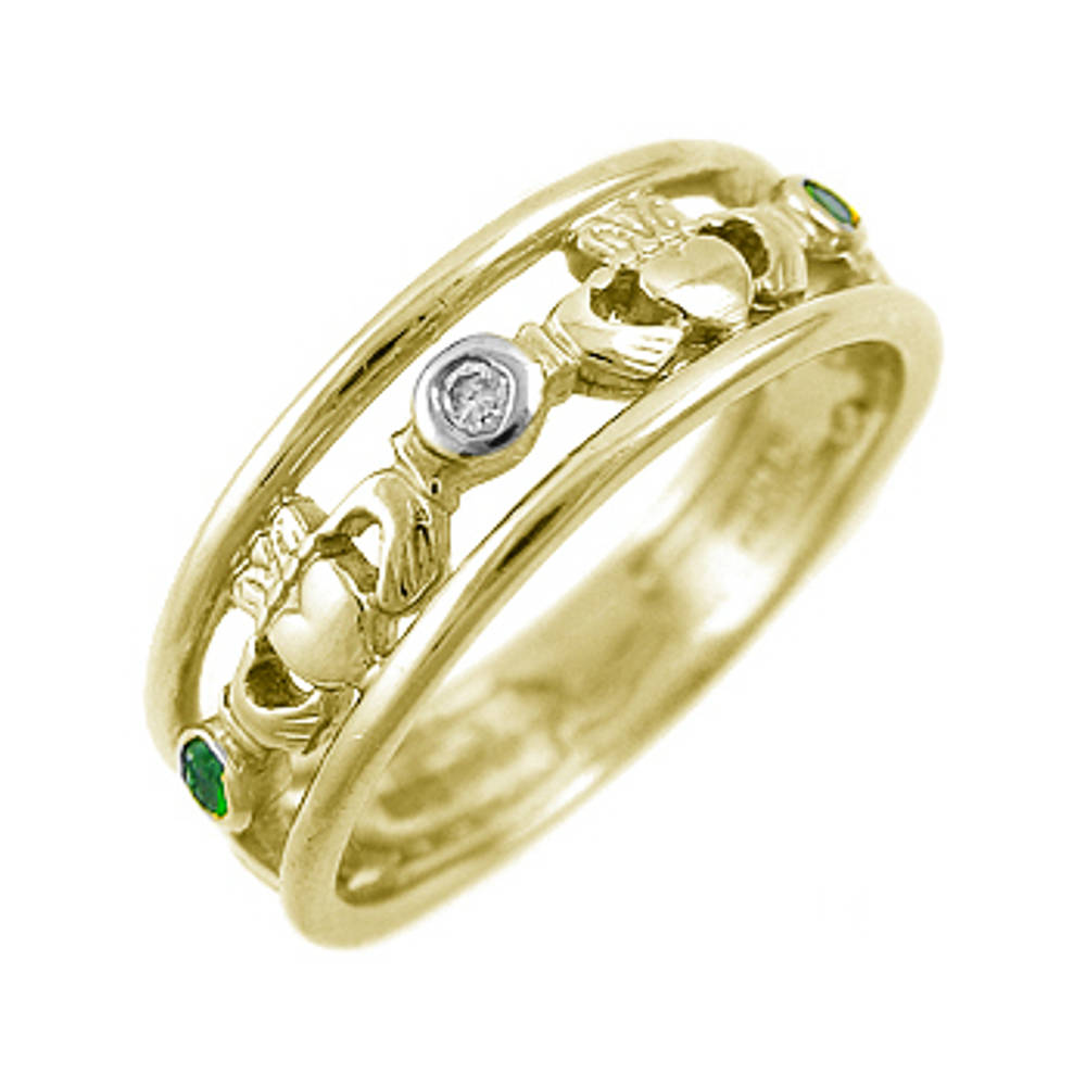 14 carat yellow gold 0.10cts emerald/0.02cts diamonds claddagh engagement ring