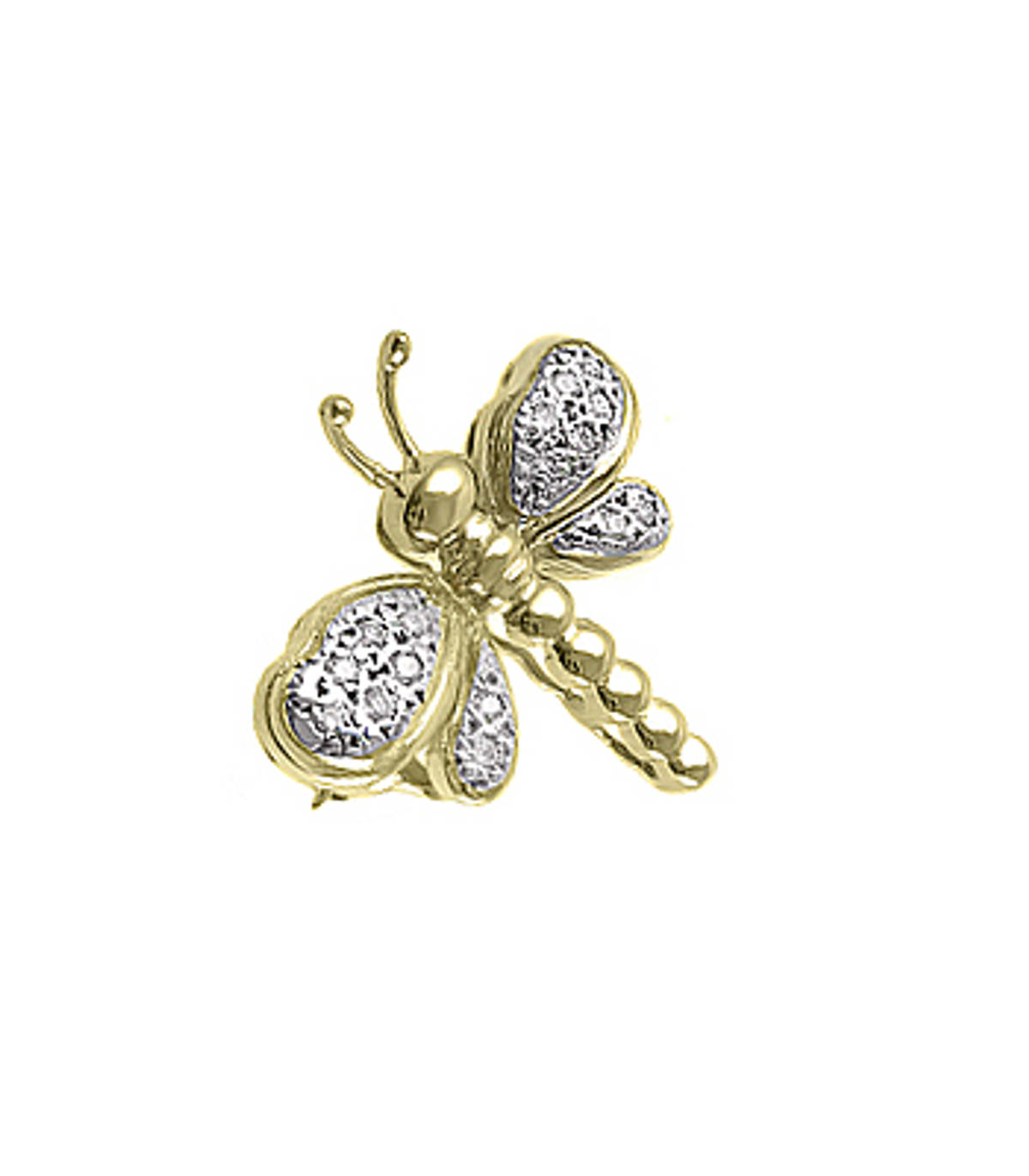 18k yellow gold with brilliant diamond dragonfly brooch Total diamond 0.16cts Width  2cm   Height  1.5cm Made in Ireland