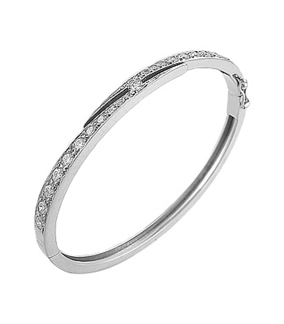 18k white gold graduated brilliant cut diamond bangle  Total diamond weight 1.34cts Made in Ireland