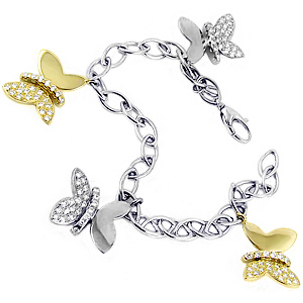 Diamond butterfly bracelet in 18 ct white/yellow gold