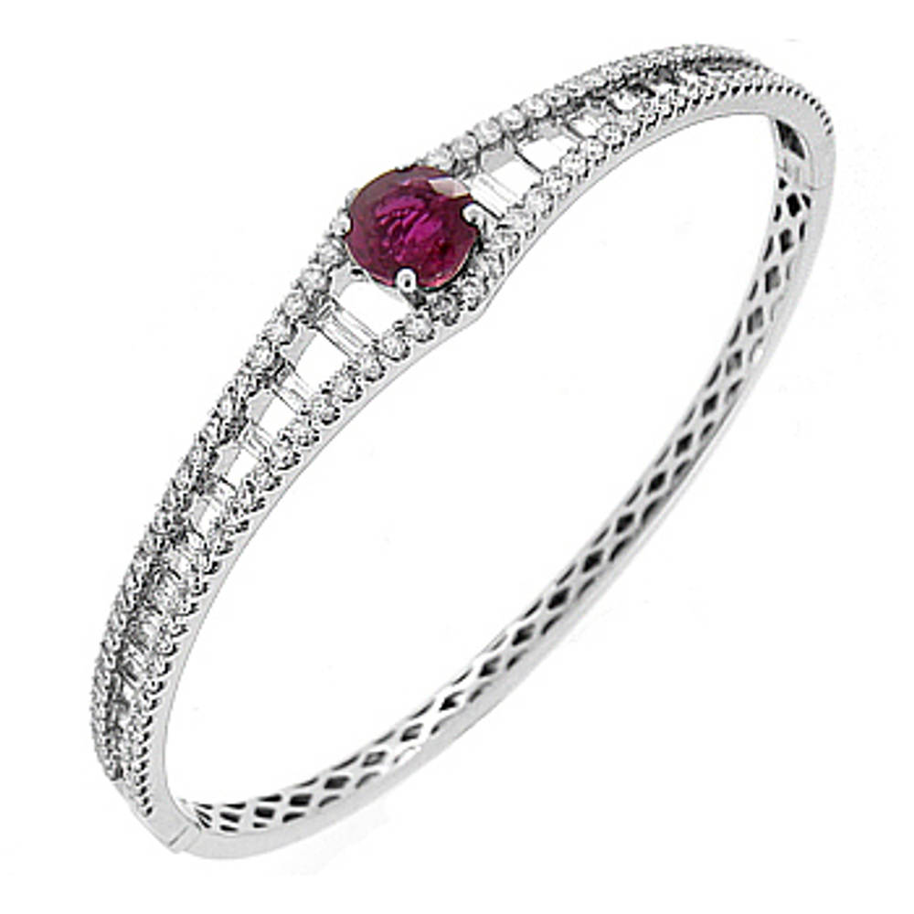 Ruby and diamond bangle in 18 ct white gold