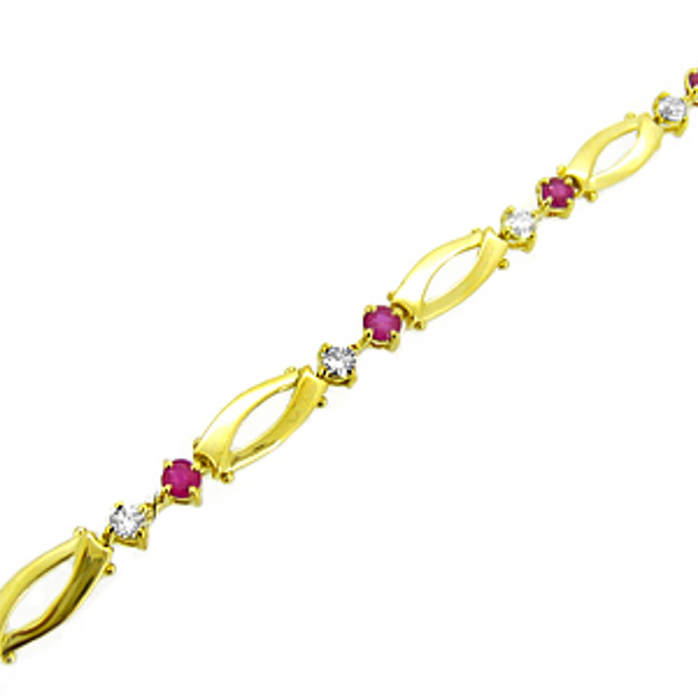 Ruby and diamond bracelet in 18 ct yellow gold
