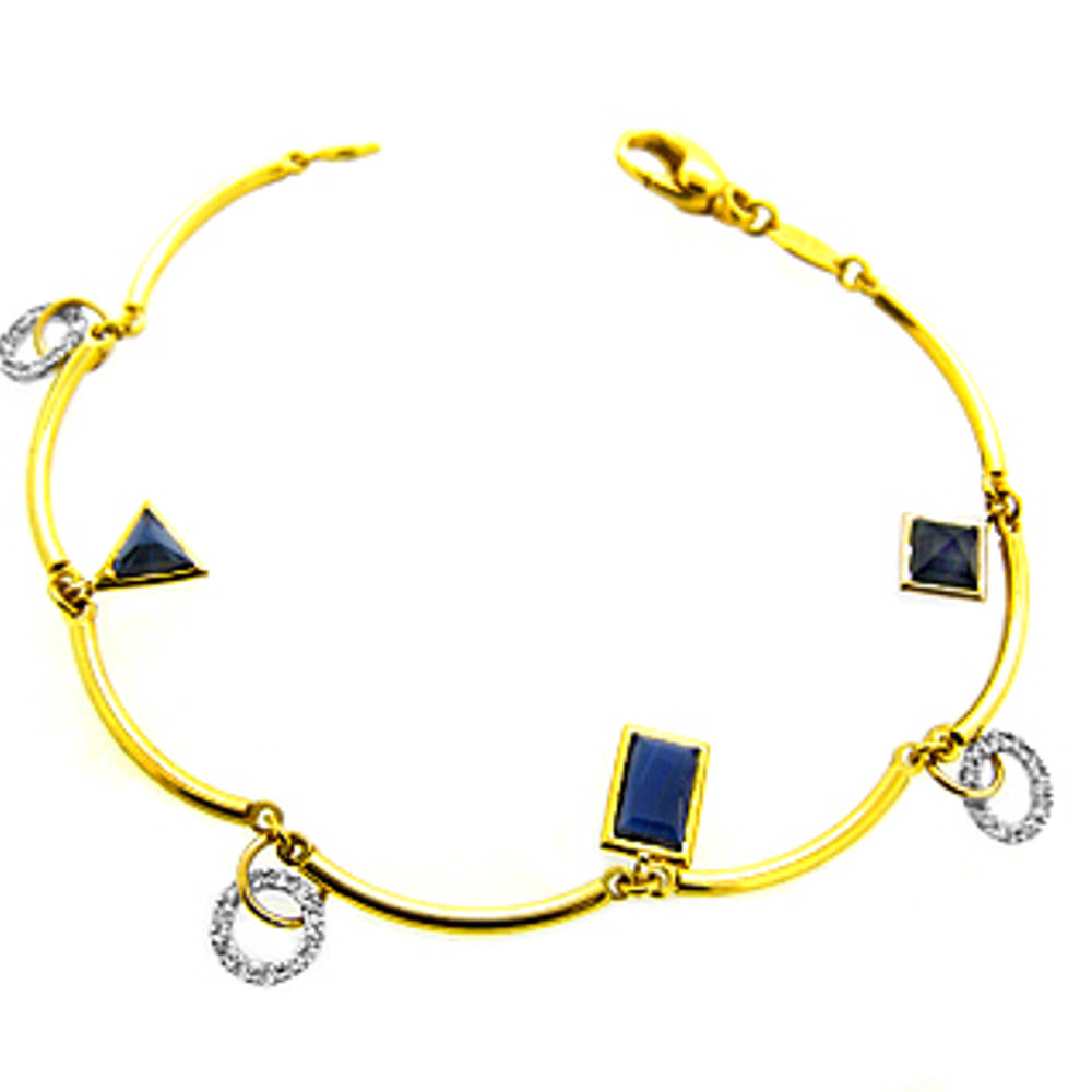 Sapphire and diamond fancy bracelet in 18 ct yellow and white gold