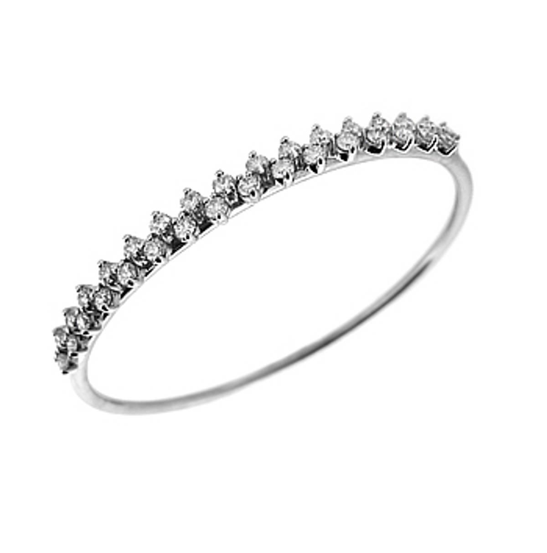 18k white gold double row brilliant cut diamond bangle diamond total weight 1.60cts