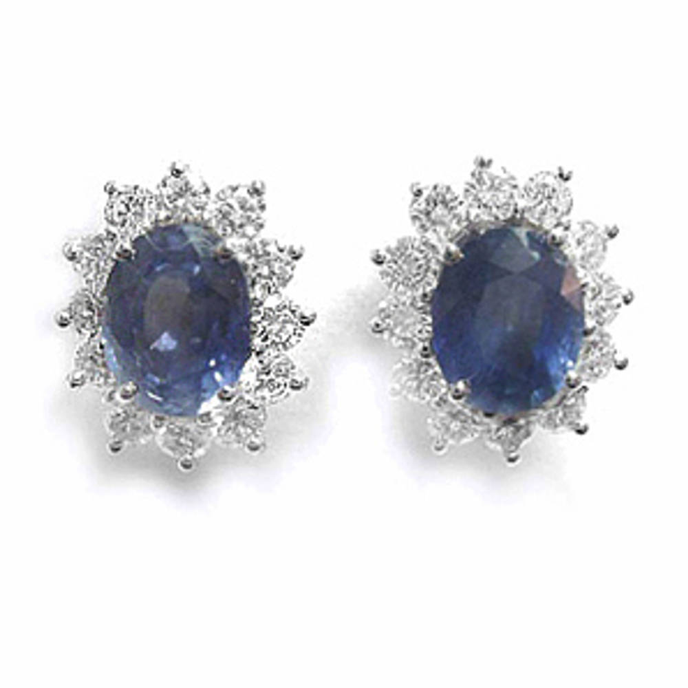 Oval sapphire and diamond cluster stud earrings in 18 ct white gold