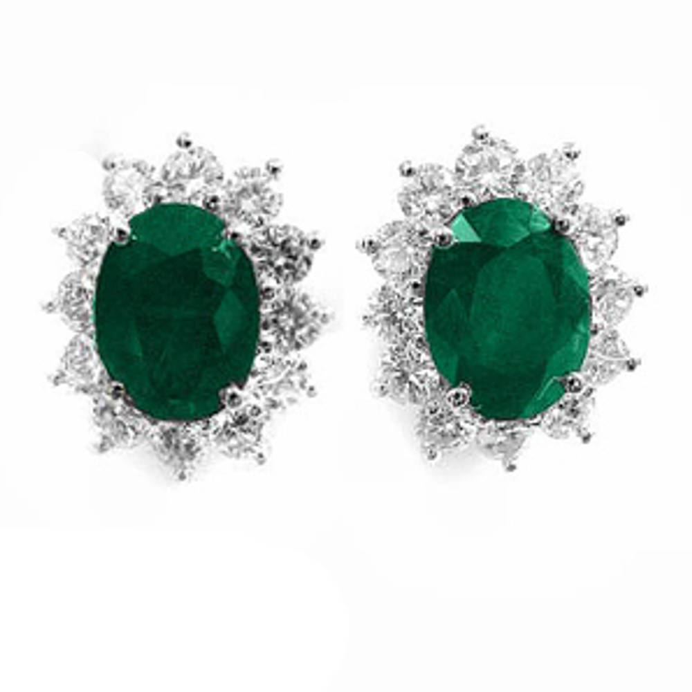 Oval emerald and round diamond cluster stud earrings in 18 ct white gold